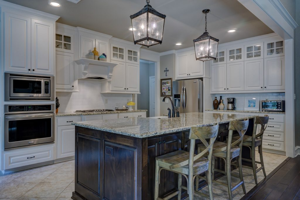 Kitchen With Lights Turned On